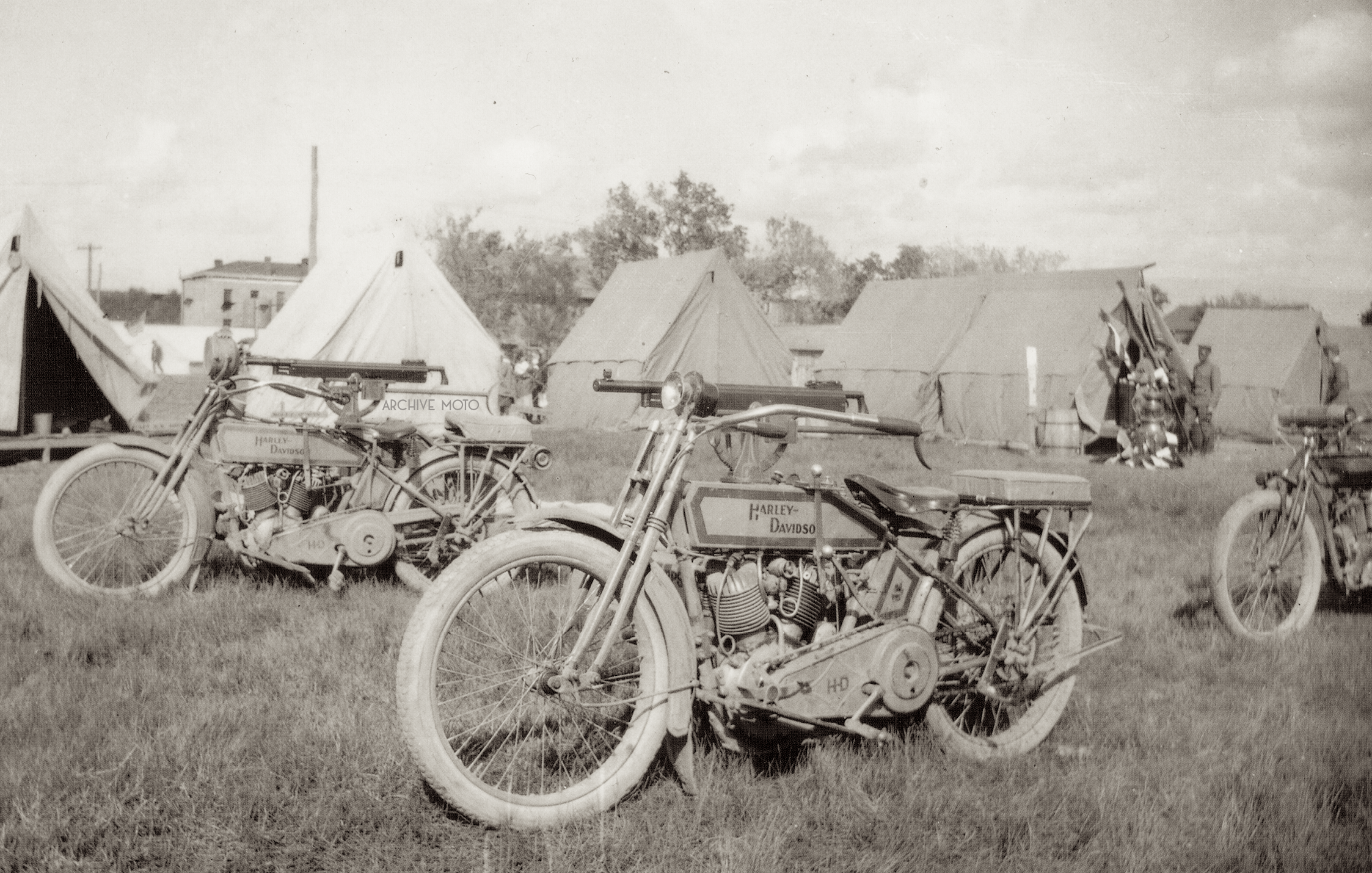 Here we can see one manifestation of this new mechanical warfare devised in the years leading up to America's involvement, an intriguing if not slightly romantic machine. However, given thought a grim reality becomes apparent, the gruesome intent of mounting a machine gun to the tank of a 1915 Harley-Davidson.