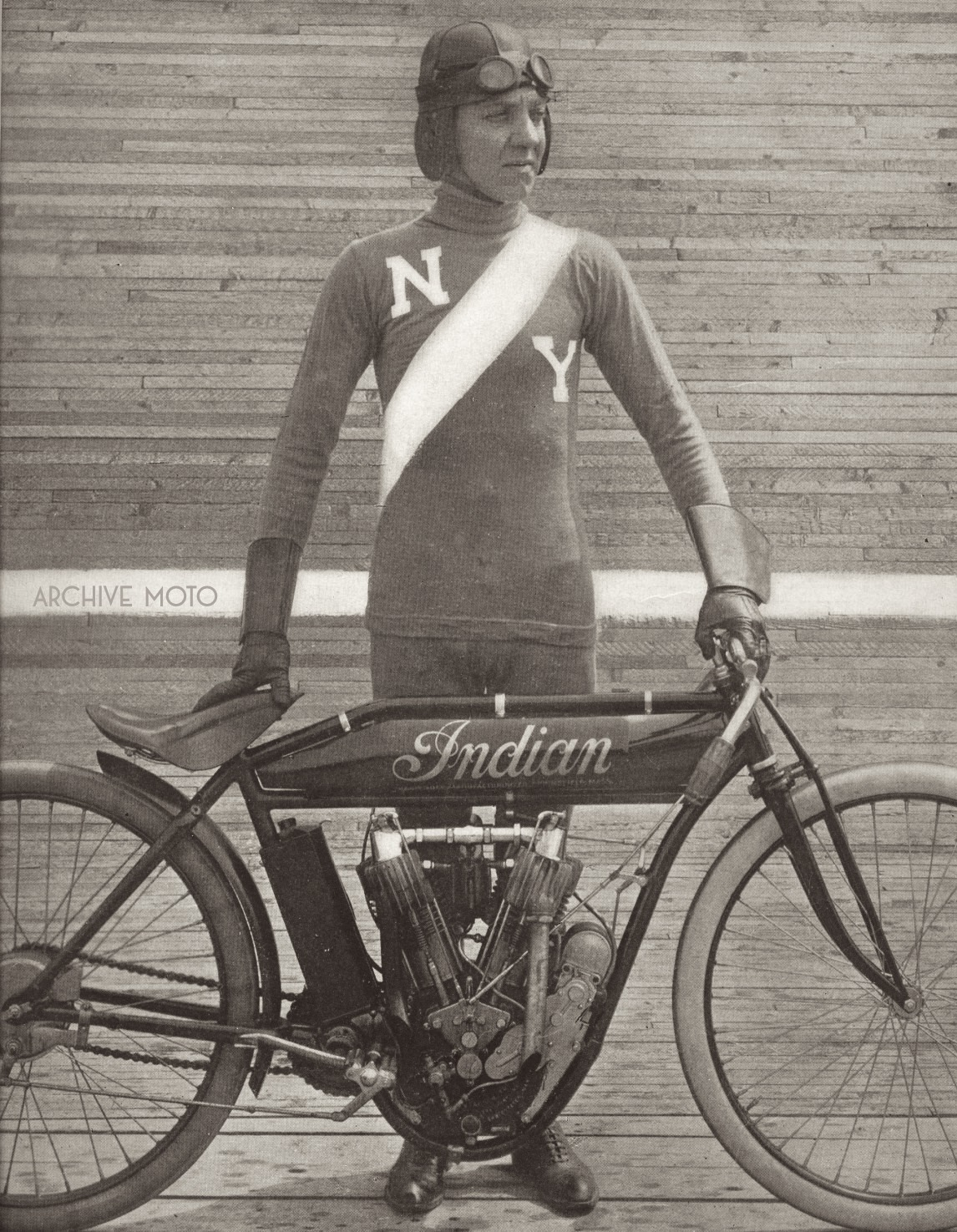 This image of A.G. Chapple comes from his glory days spent at full tilt on the boards of America's motordromes. It was taken after the New York icon turned a mile in 38 seconds, a staggering 95 mph at his home track of Brighton Beach in September, 1912.