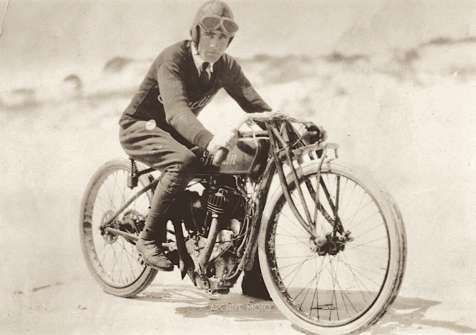 Seen here on the sands of Daytona Beach in April, 1920 is Indian's gentleman speedster, Birmingham's own Eugene Walker, the new fastest man on two wheels.