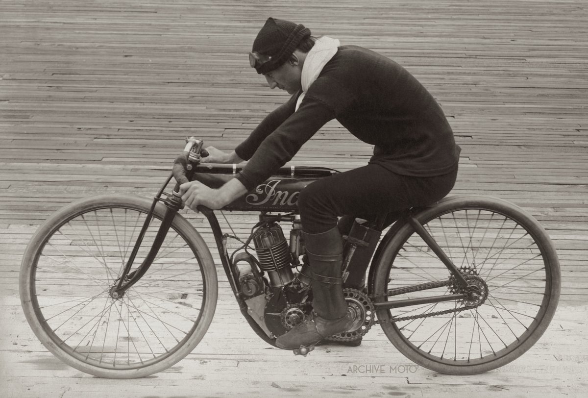 Pictured is Jacob DeRosier onboard his 7HP Indian factory racing motorcycle, the legendary No. 21 inside the Los Angeles Motordrome at Playa Del Rey in February, 1911.