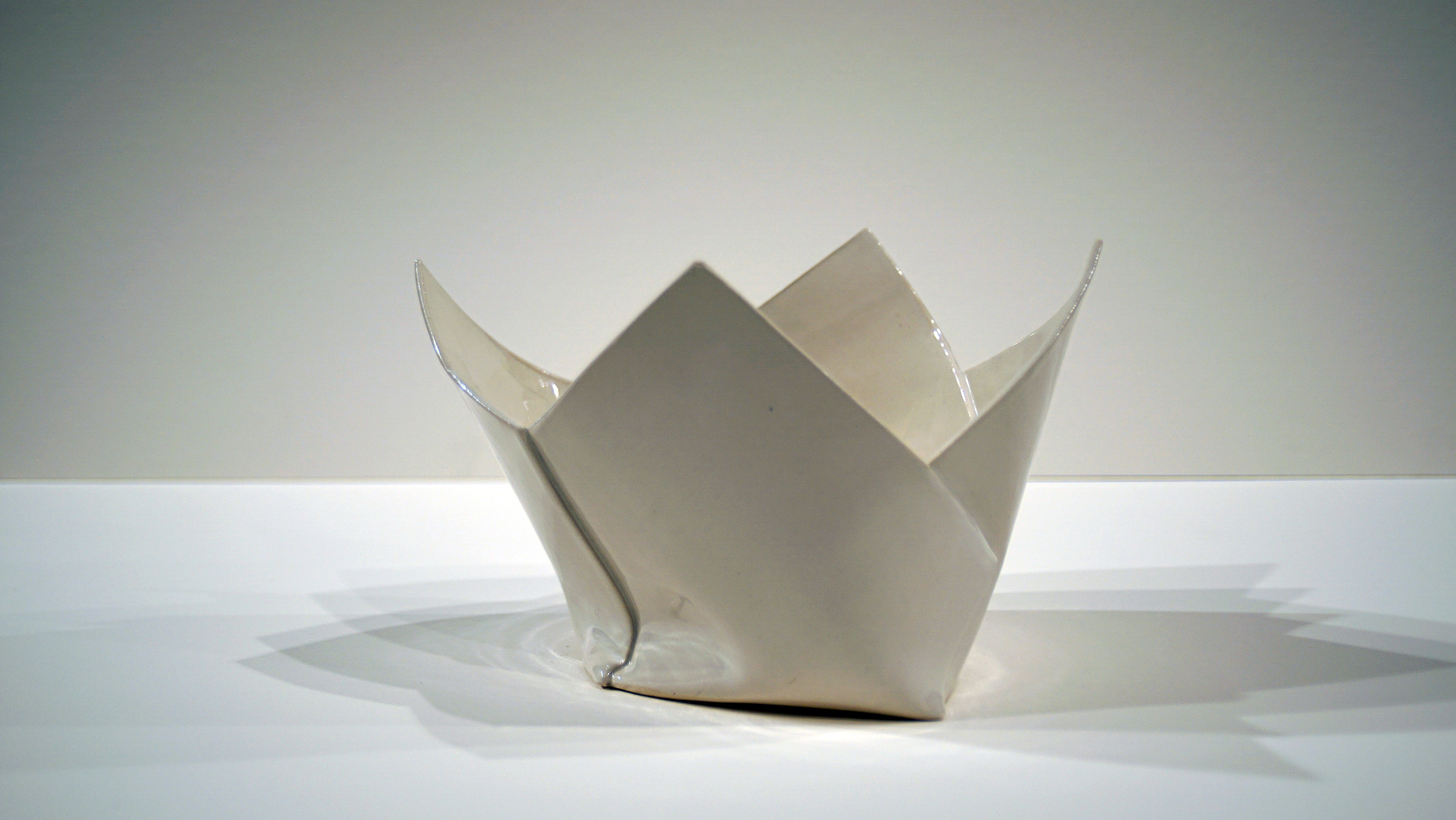 "Four Folds    2015   Porcelain  H. 8.5"" D. 12.5"" W. 8"""