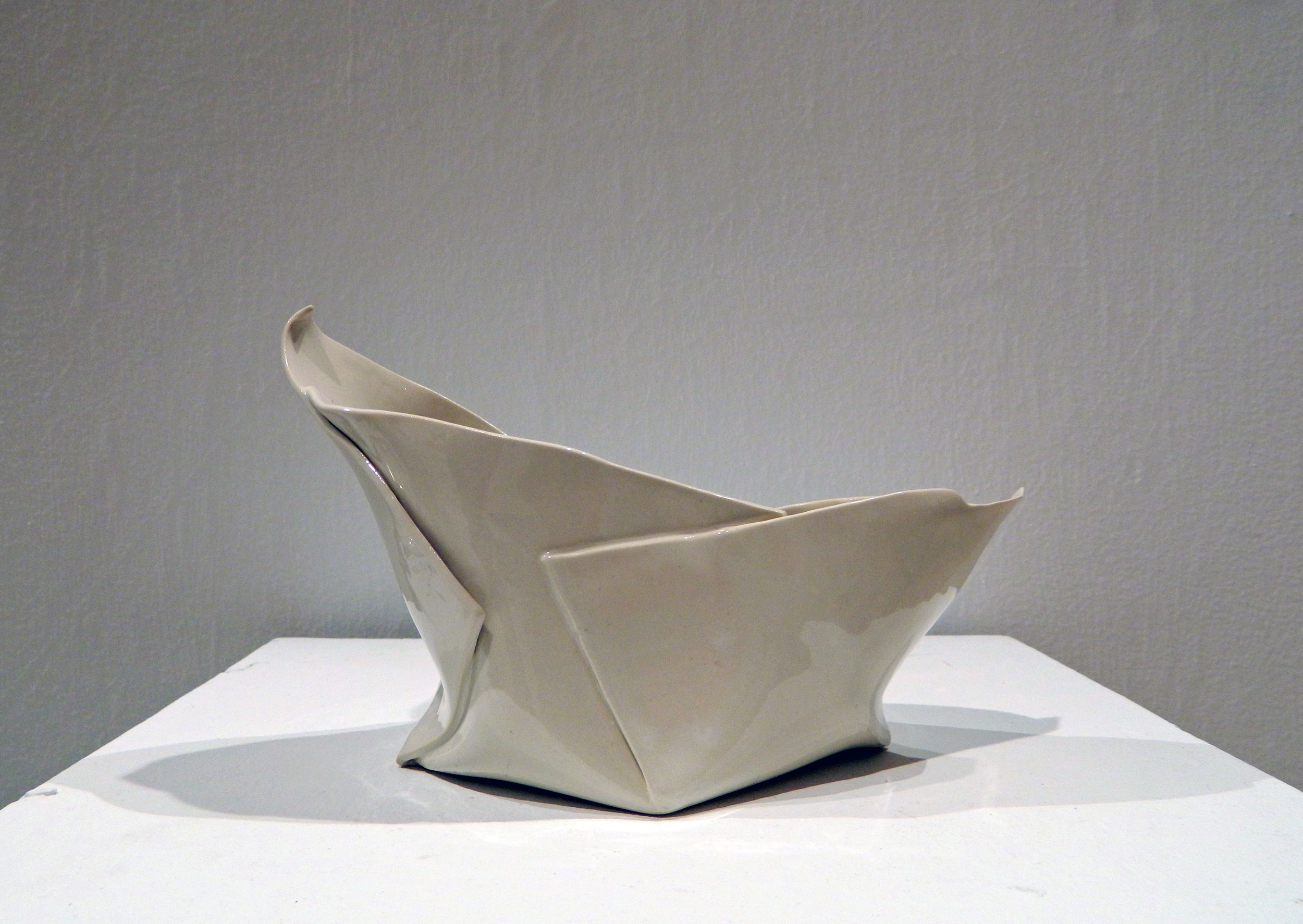 "Peeled Folds    2015    Porcelain    H. 5.5"" L.9"" W. 5.5"""