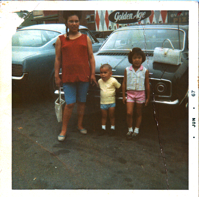 Noriko Miyagi Hilston (left, age 22), James Hilston (center, age 3), and some unknown girl (probably the daughter of a friend of my mother).