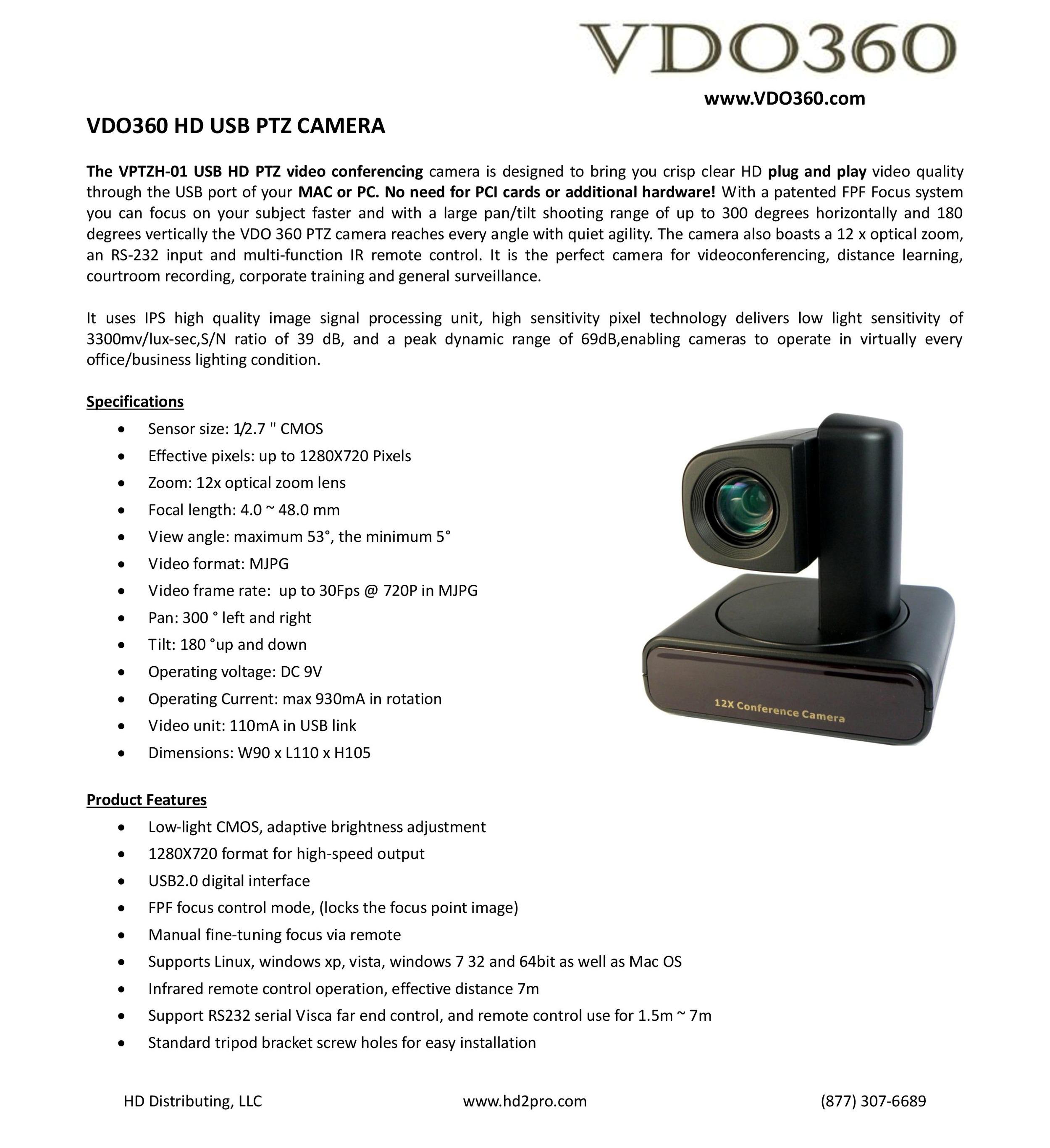 vdo360 usb ptz camera
