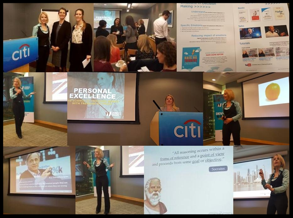 Presenting  The Science of Choosing Wisely  to the Women in Banking and Finance at Citibank Canary Wharf, London.  Photo credit Sylvana Caloni