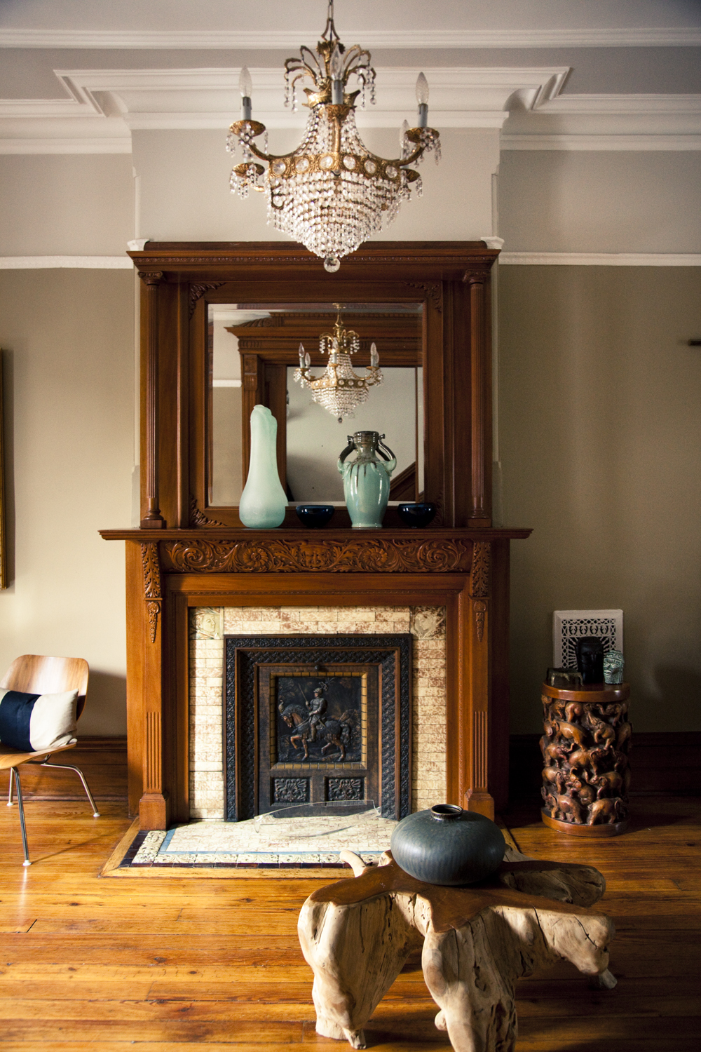 """""""Brooklyn brownstone interior design project: living room decor and fireplace decor"""""""