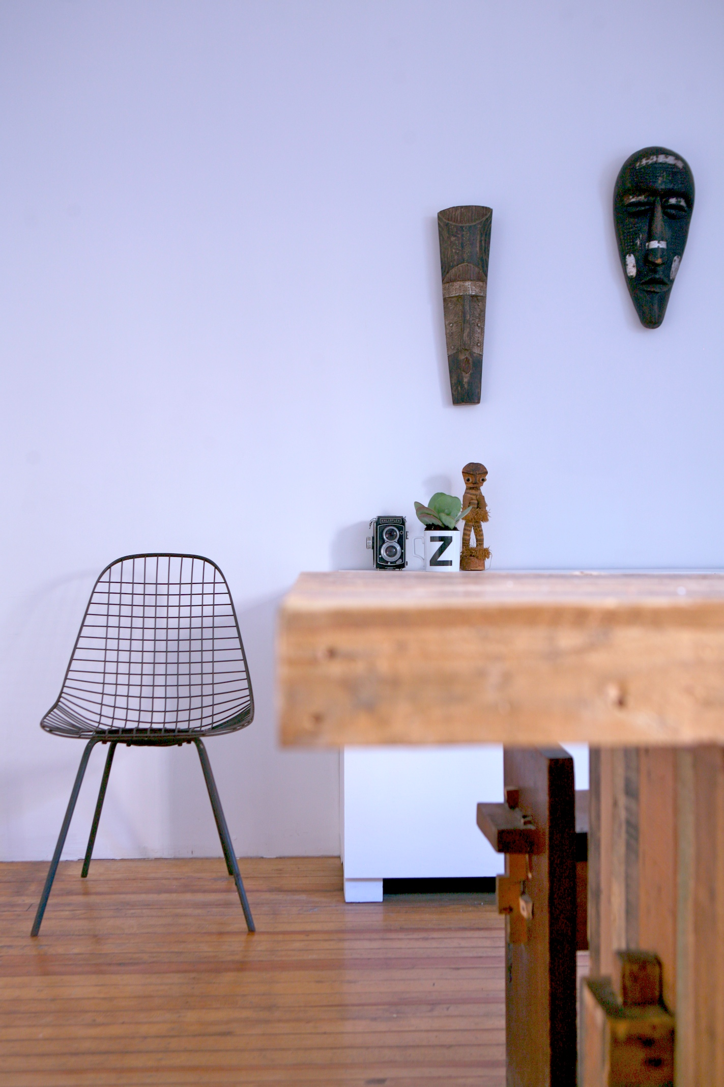 """Brooklyn brownstone interior design project: kitchen renovation.  Eclectic rustic white interior."""