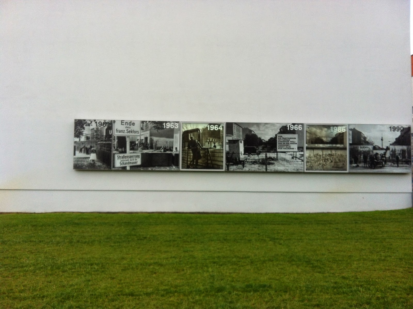 The minimalist outdoor displays highlighting moments related to the history of the wall.