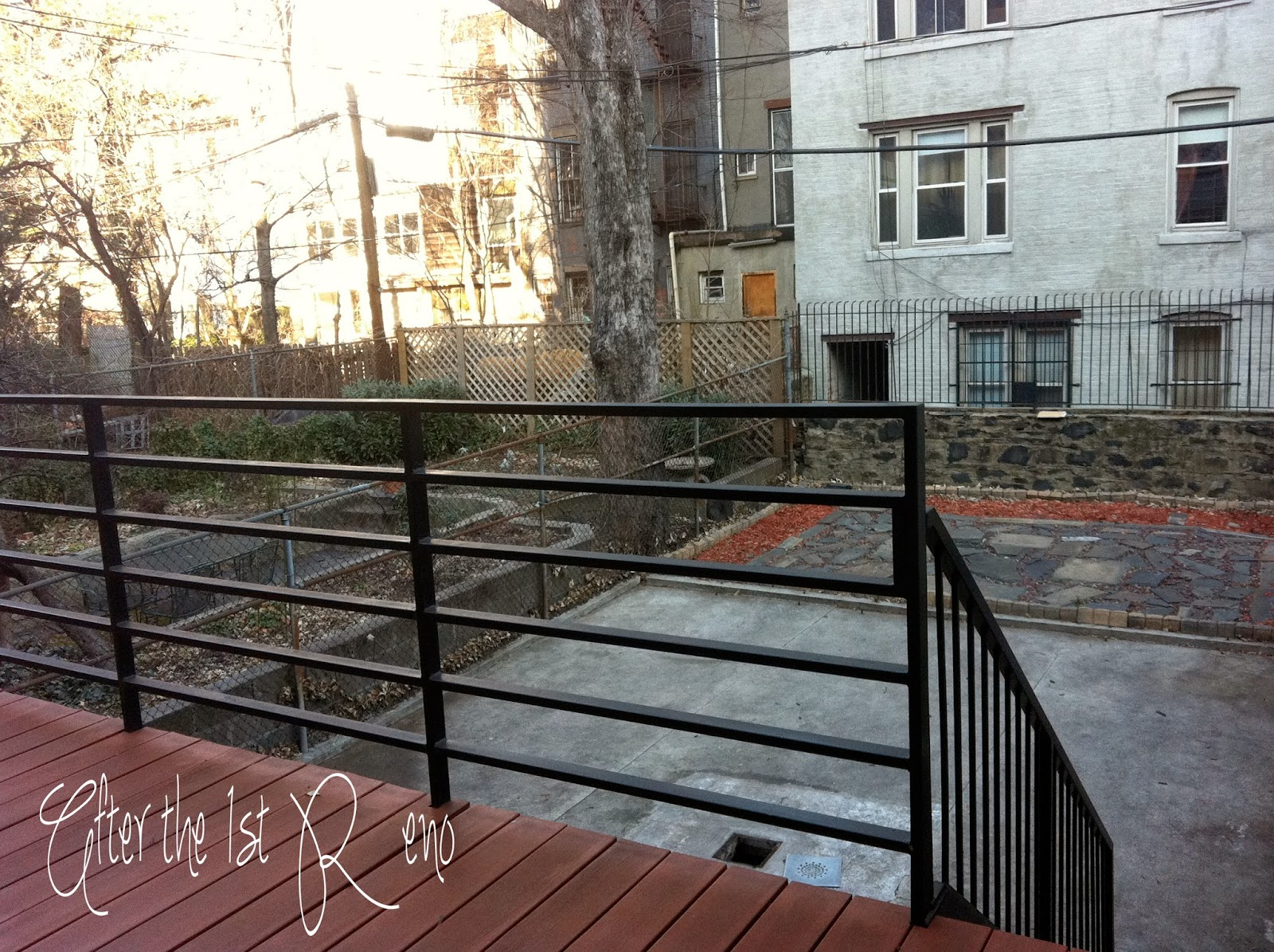 While the building saw major change, the yard still looked unwelcoming from the newly added deck.