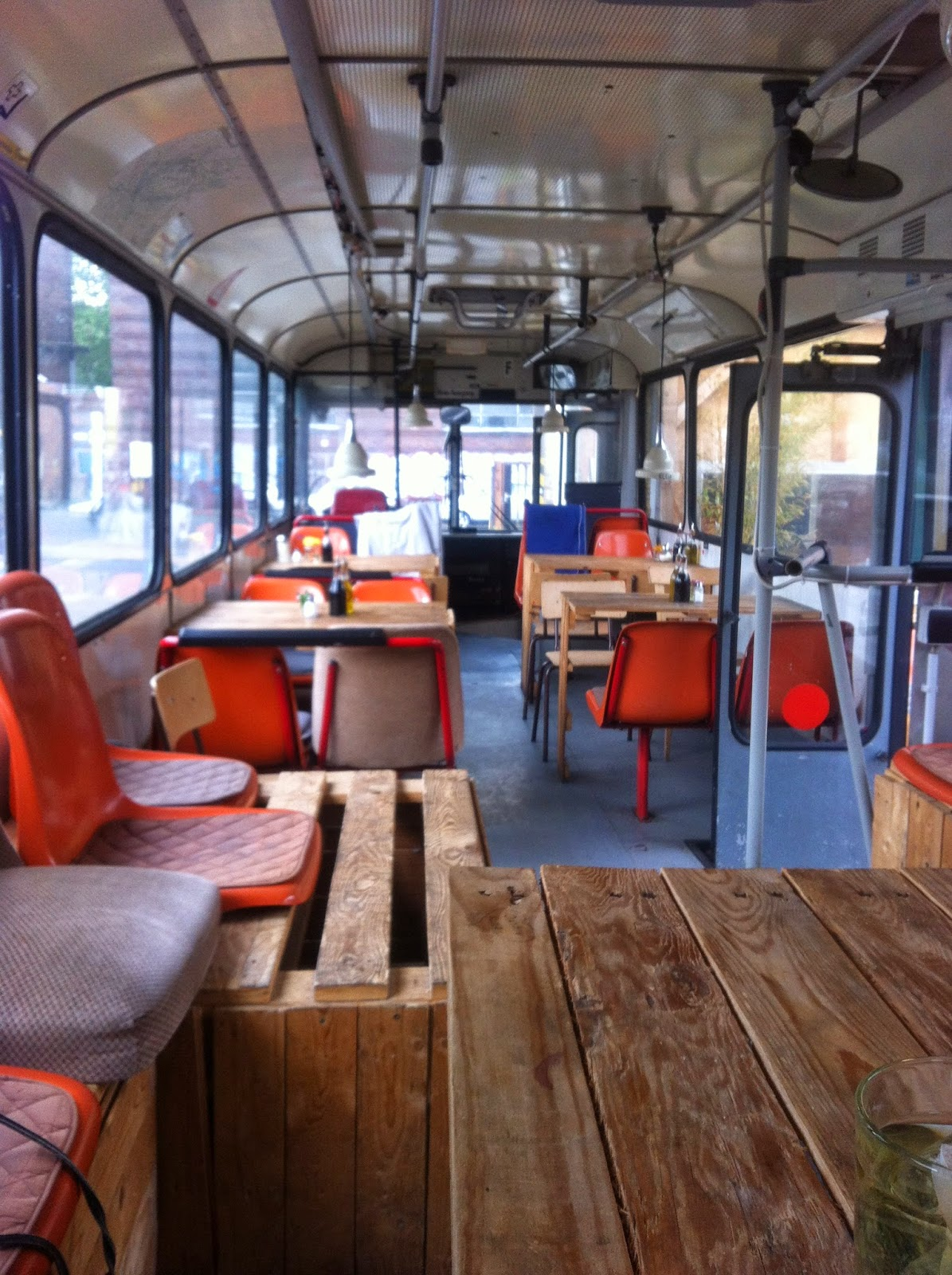 A restaurant inside a bus! Taking the food truck to the next level.