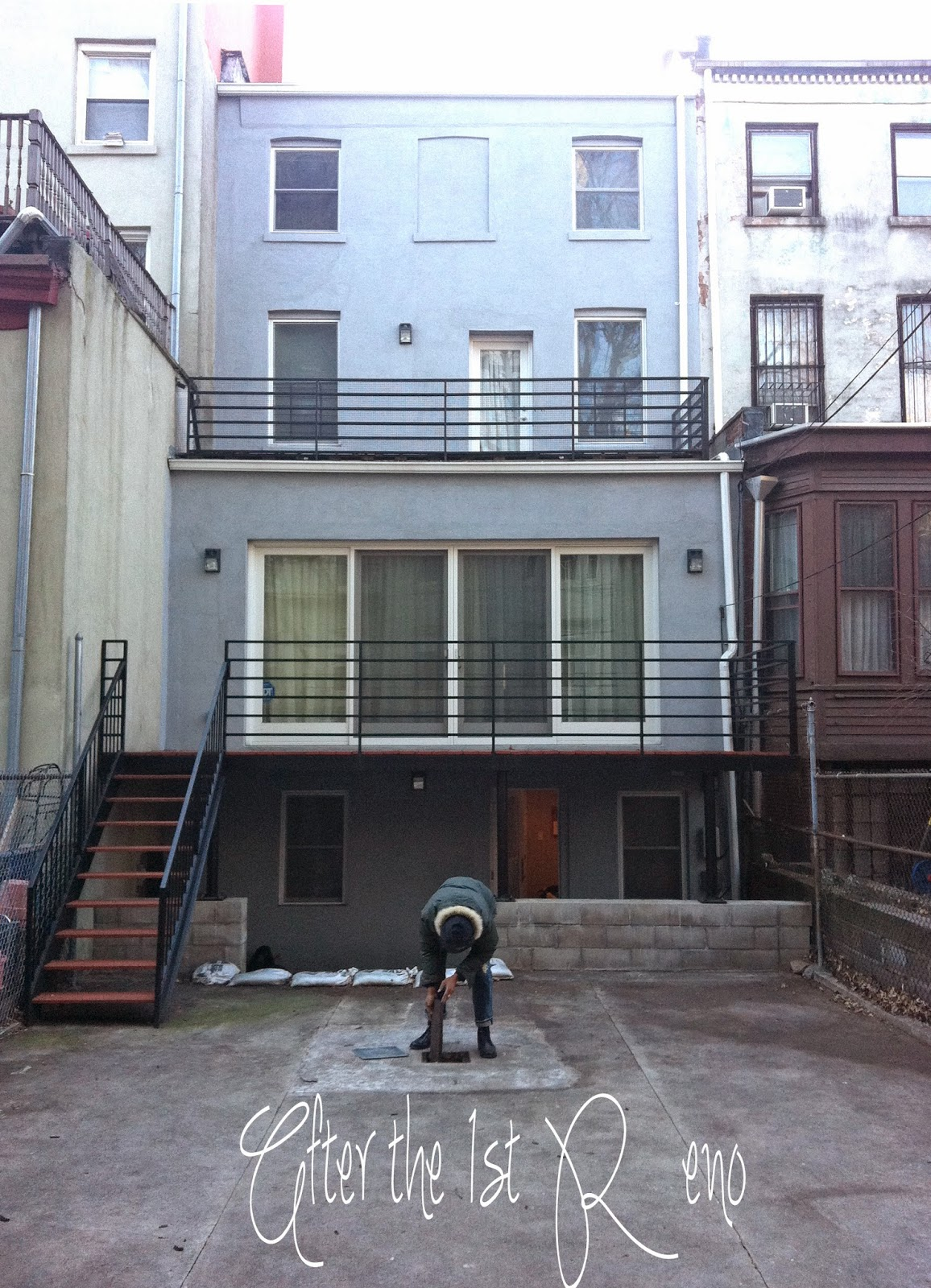 Architect, Robert A. King, did major renovations to the brownstone including adding a deck to the back, sliding doors and a stair case to access the back from the parlor floor.
