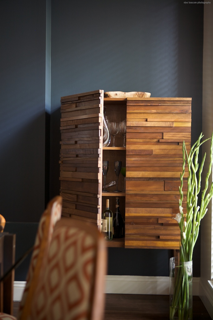 Photo credit: Niya Bascom Photography;  An Ishka Designs custom designed bar cabinet.