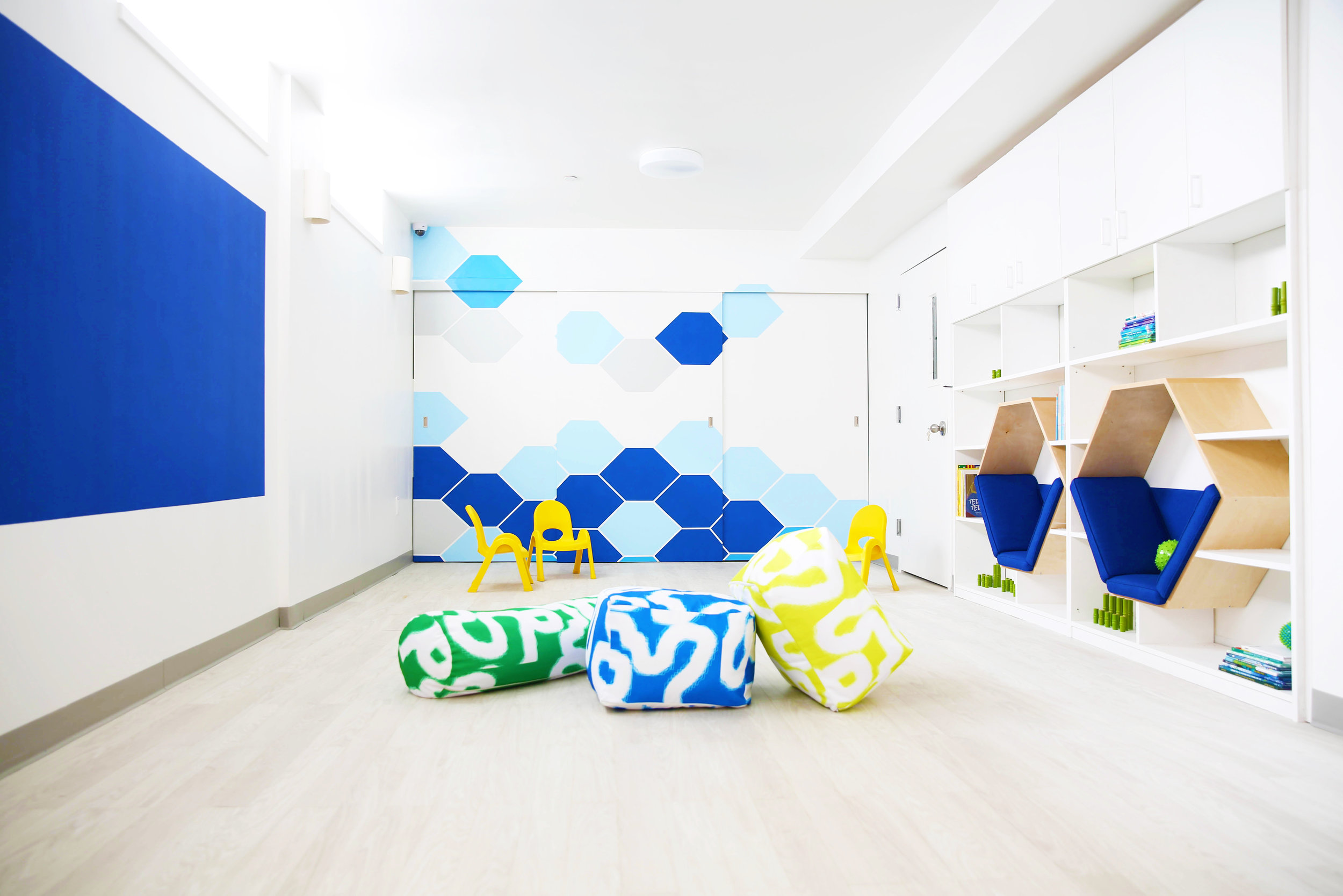Daycare interior design project. Gut renovation of a former thrift shop.Modern, minimal interiors.  Photo credit: Niya Bascom Photography. Please do not use images without express written permission from Ishka Designs or Niya Bascom