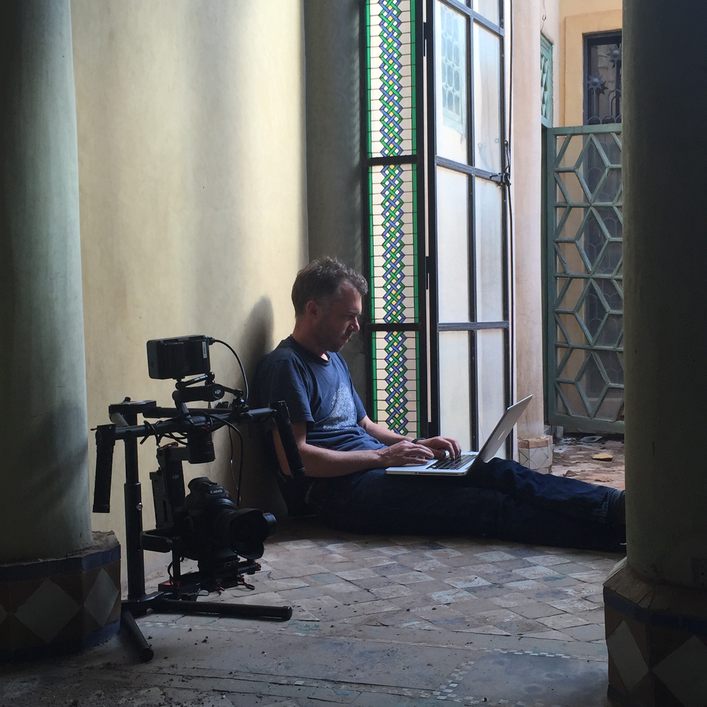 Editing the Bill Willis documentary on location in Marrakech. Project:  'Chasing Beauty' The Bill Willis Project.