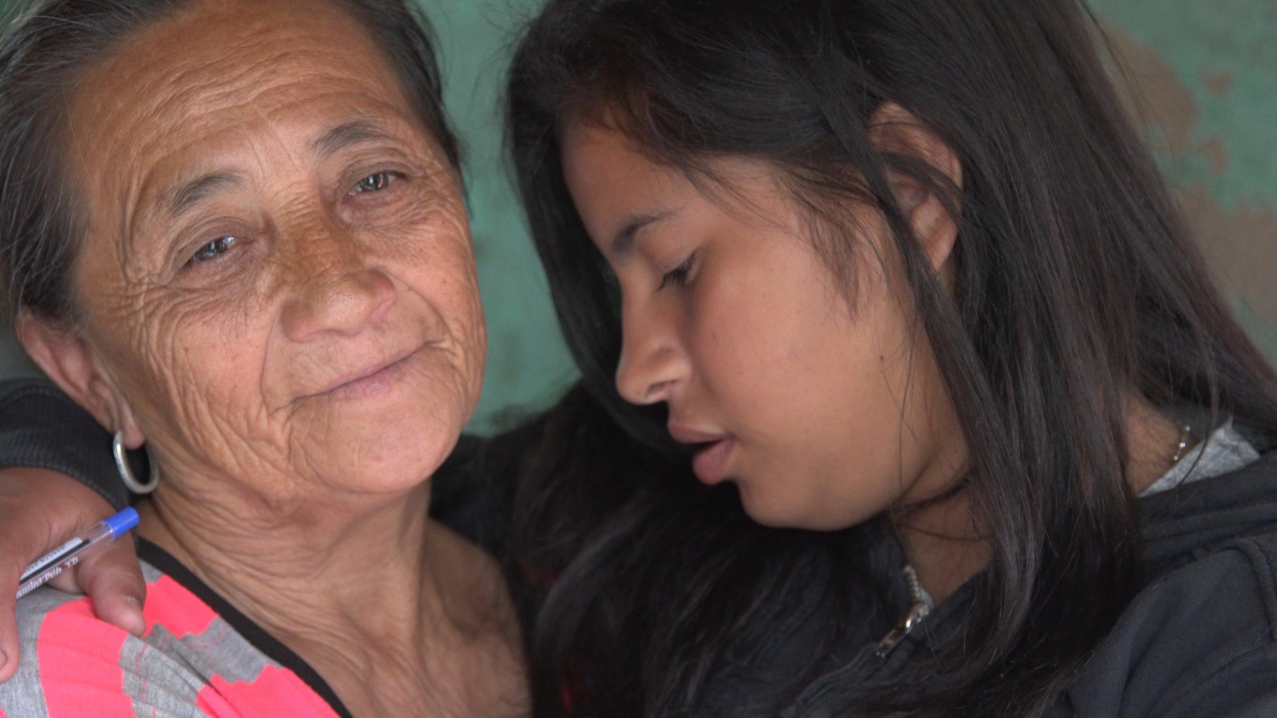 Liz and her grandmother at home in San Lorenzo, Asuncion, Paraguay