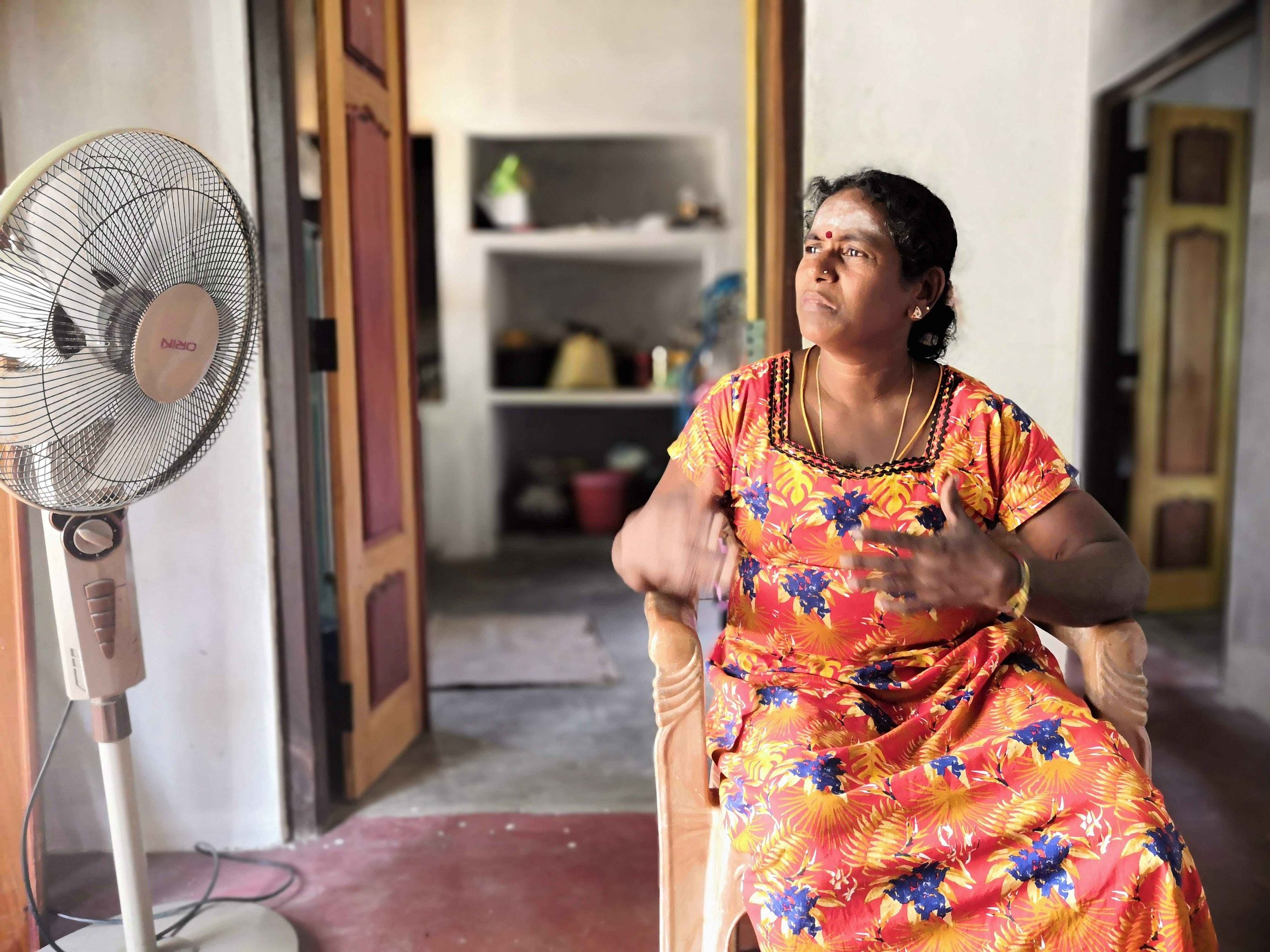 Vasuki, a war widow and amputee, at home in Point Pedro, Sri Lanka