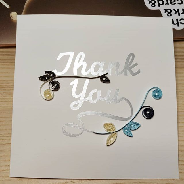 Last minute order of a thank you card for an amazing 90-year-old! Wish I had more time to work on it, but glad I could help my client show her gratitude 💕 #quilling #papercraft #ilovepaper #ireland #arteempapel #papel #art #crafts #irishcraft #silhouettecameo #thankyou