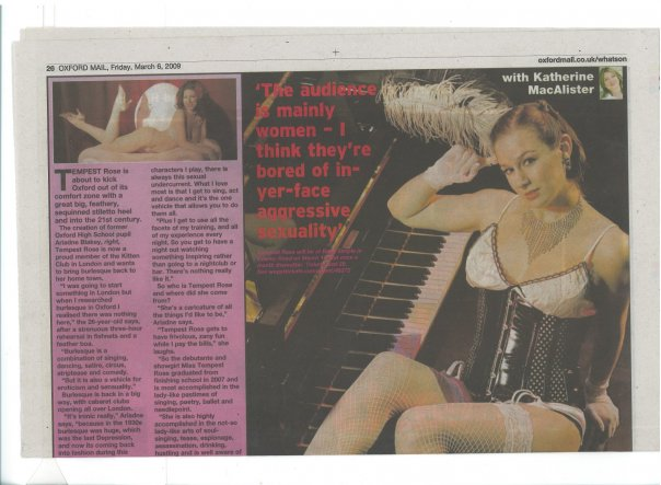 Tempest Rose House of Burlesque Oxford Mail