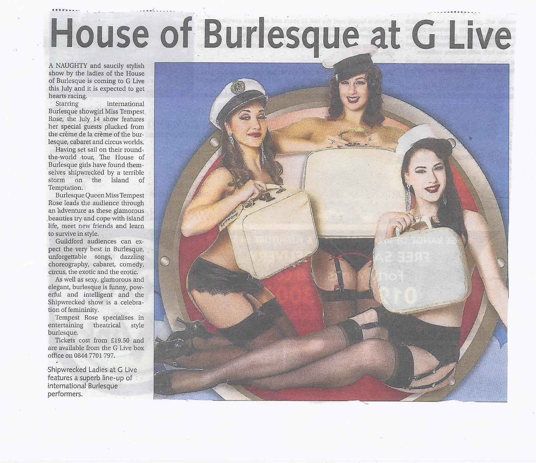 Tempest Rose House of Burlesque Star Courier