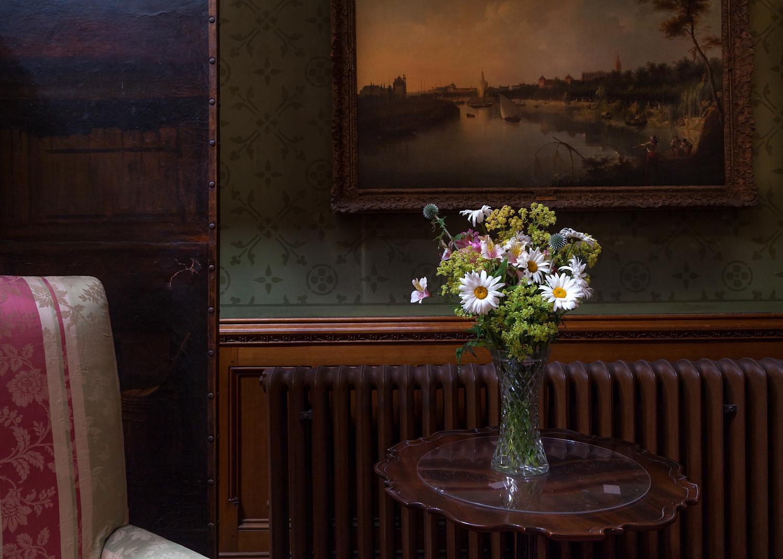 Garden flowers arranged in the hall, Tyntesfield
