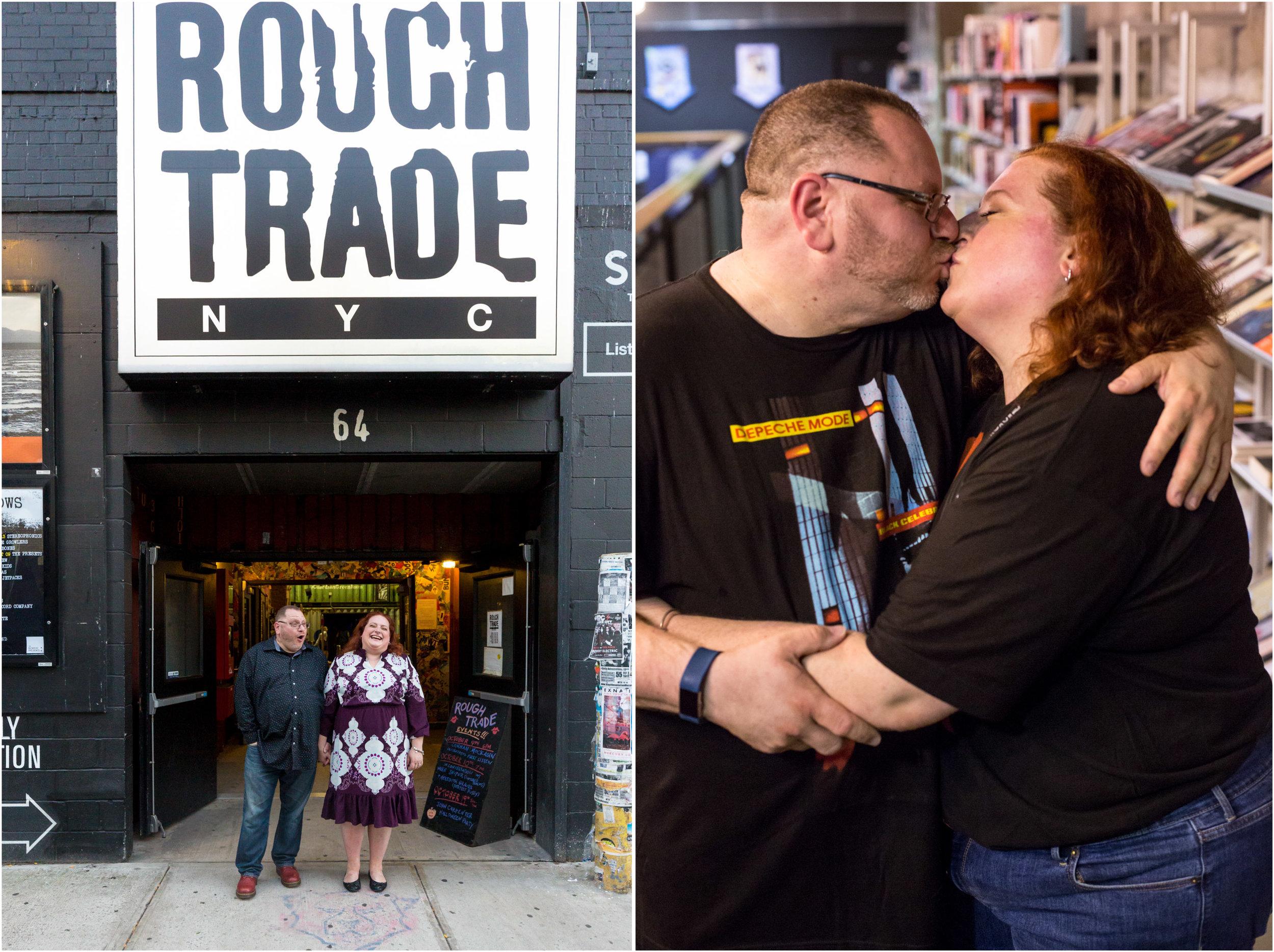 Williamsburg Engagement Shoot Rough Trade NYC Wedding Photographer Dave Gahan Depeche Mode