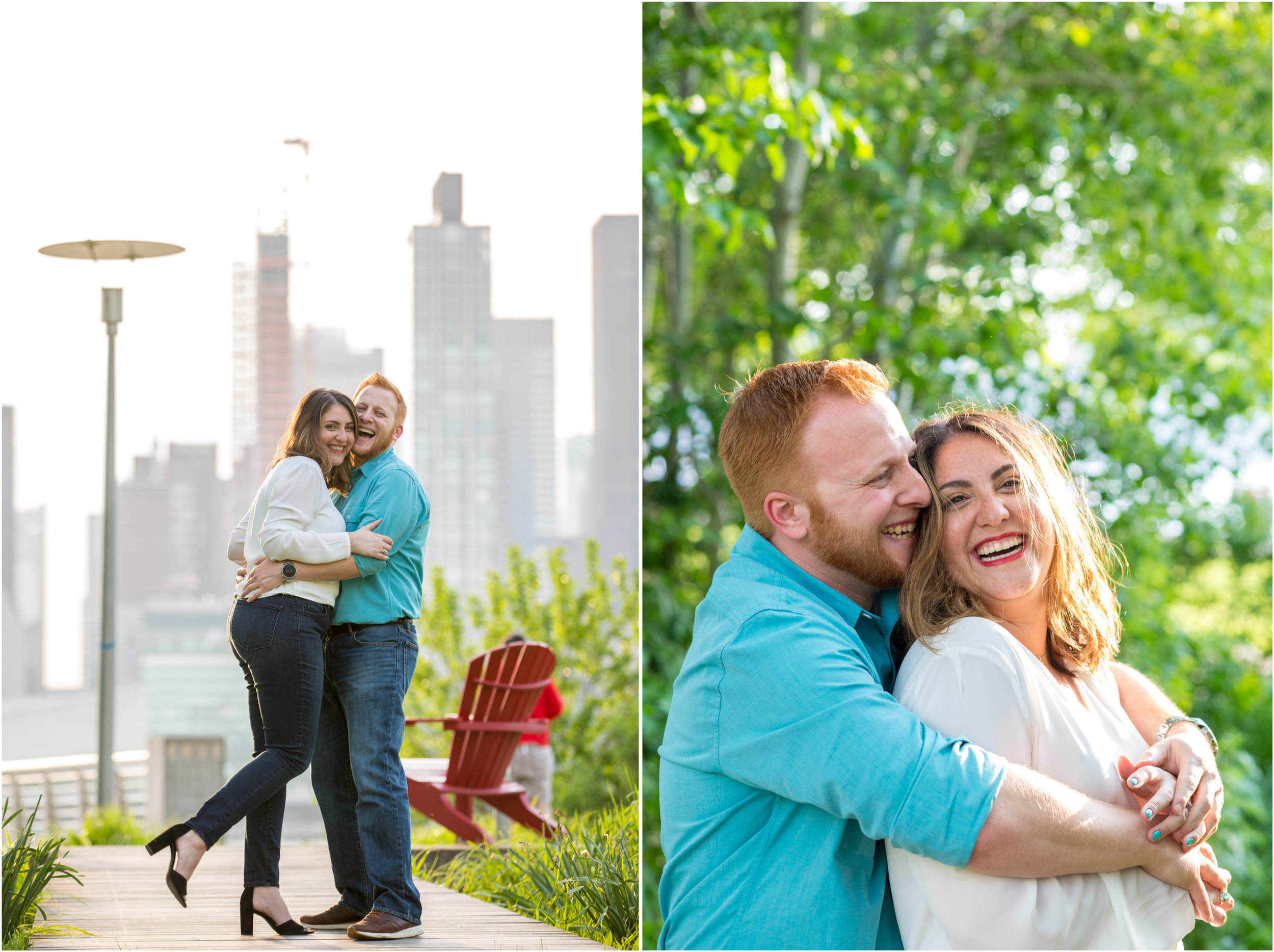 NYC Engagement Photo Session Shoot Gantry Plaza State Park Photographer New York City