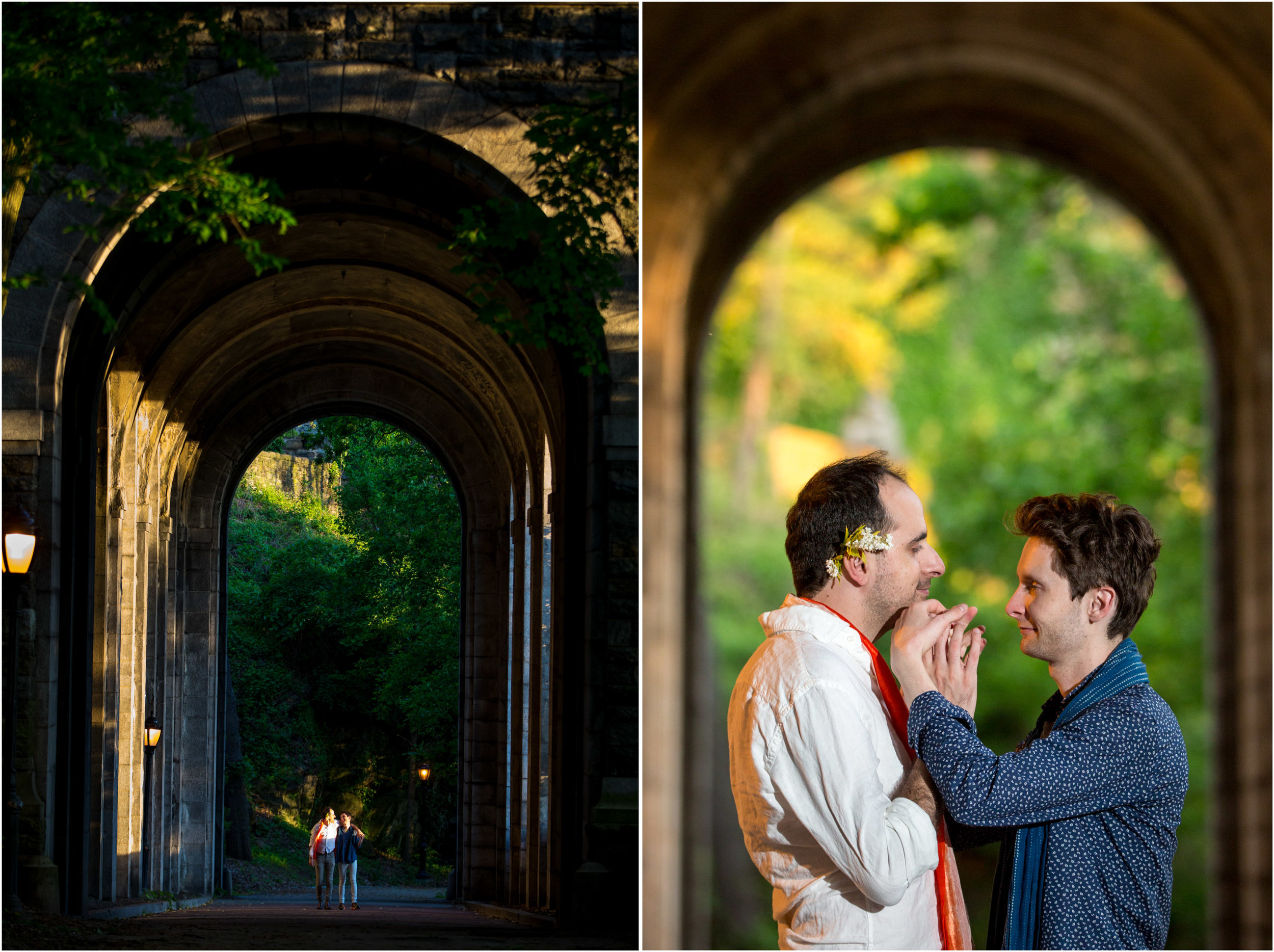NYC Wedding Photographer Fort Tryon Park Engagement Photo Shoot Session Gay Same Sex Marriage New York