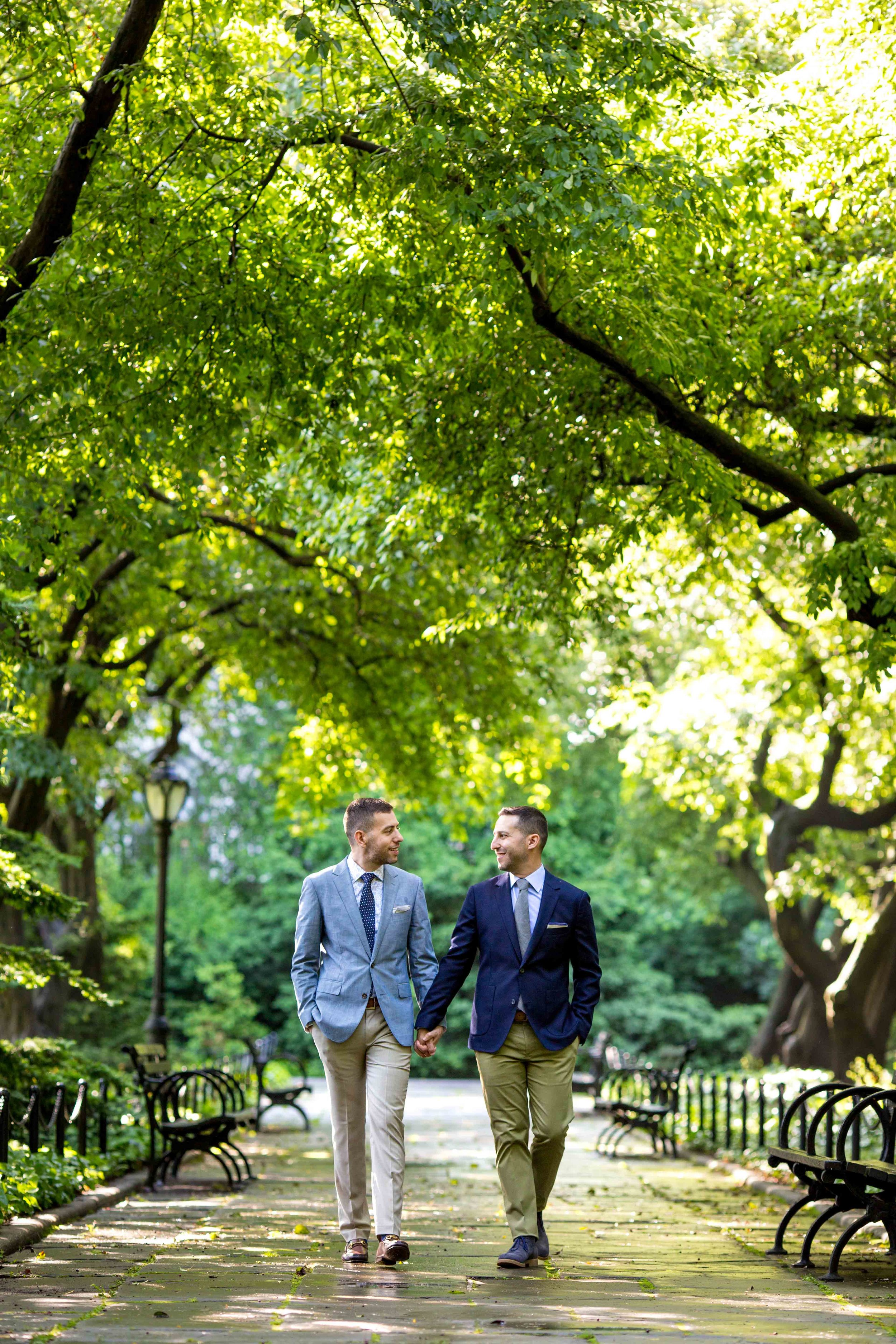 New York City NYC Wedding Photographer Engagement Photo Session Shoot Same  Sex Gay Central Park Conservatory