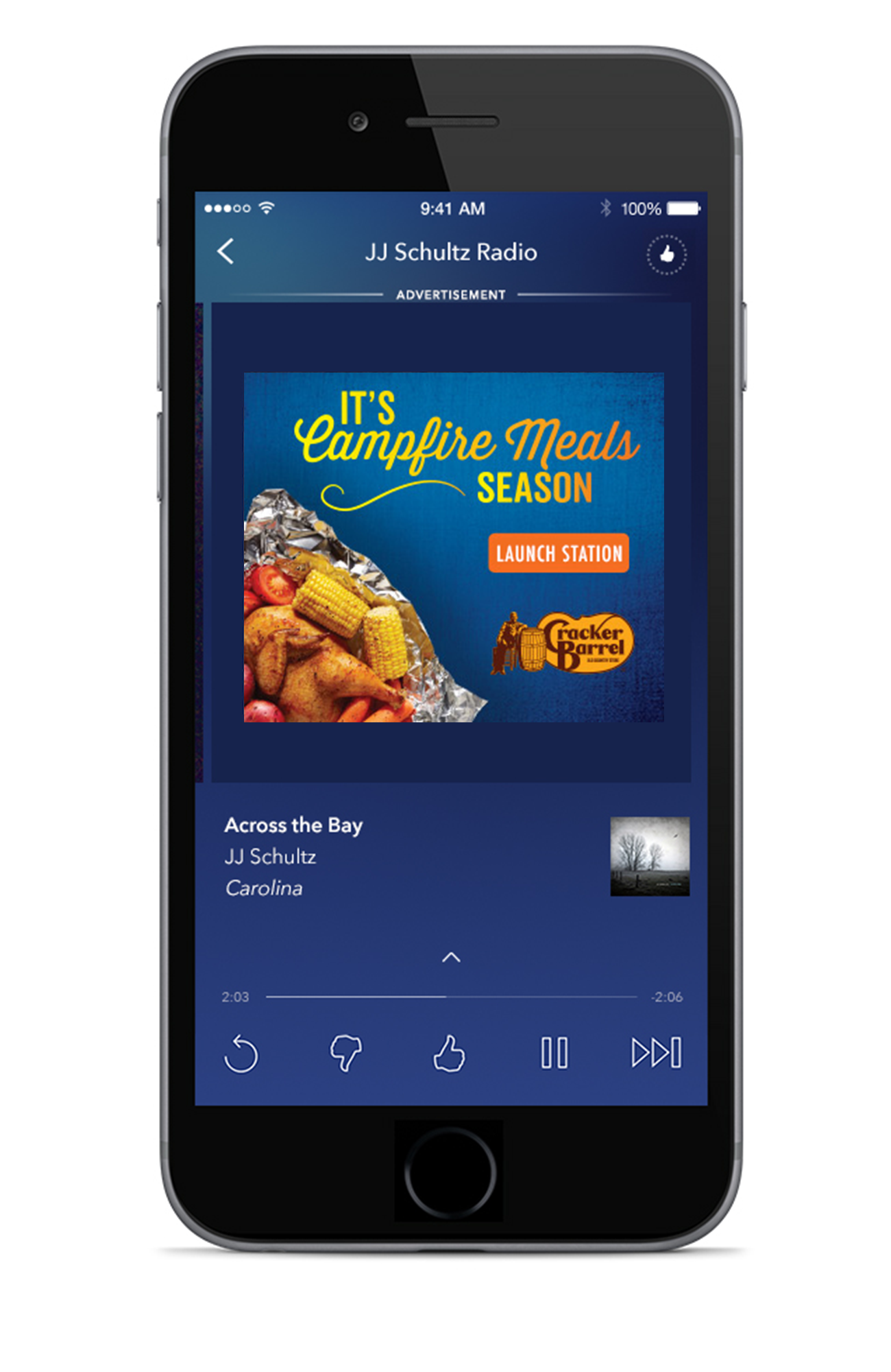 Cracker Barrel - The sounds of a fire crackling, crickets chirping, and descriptive details of savory flavors are key elements of this mobile audio ad for Cracker Barrel, who wanted to get the word out about their Campfire Meals.