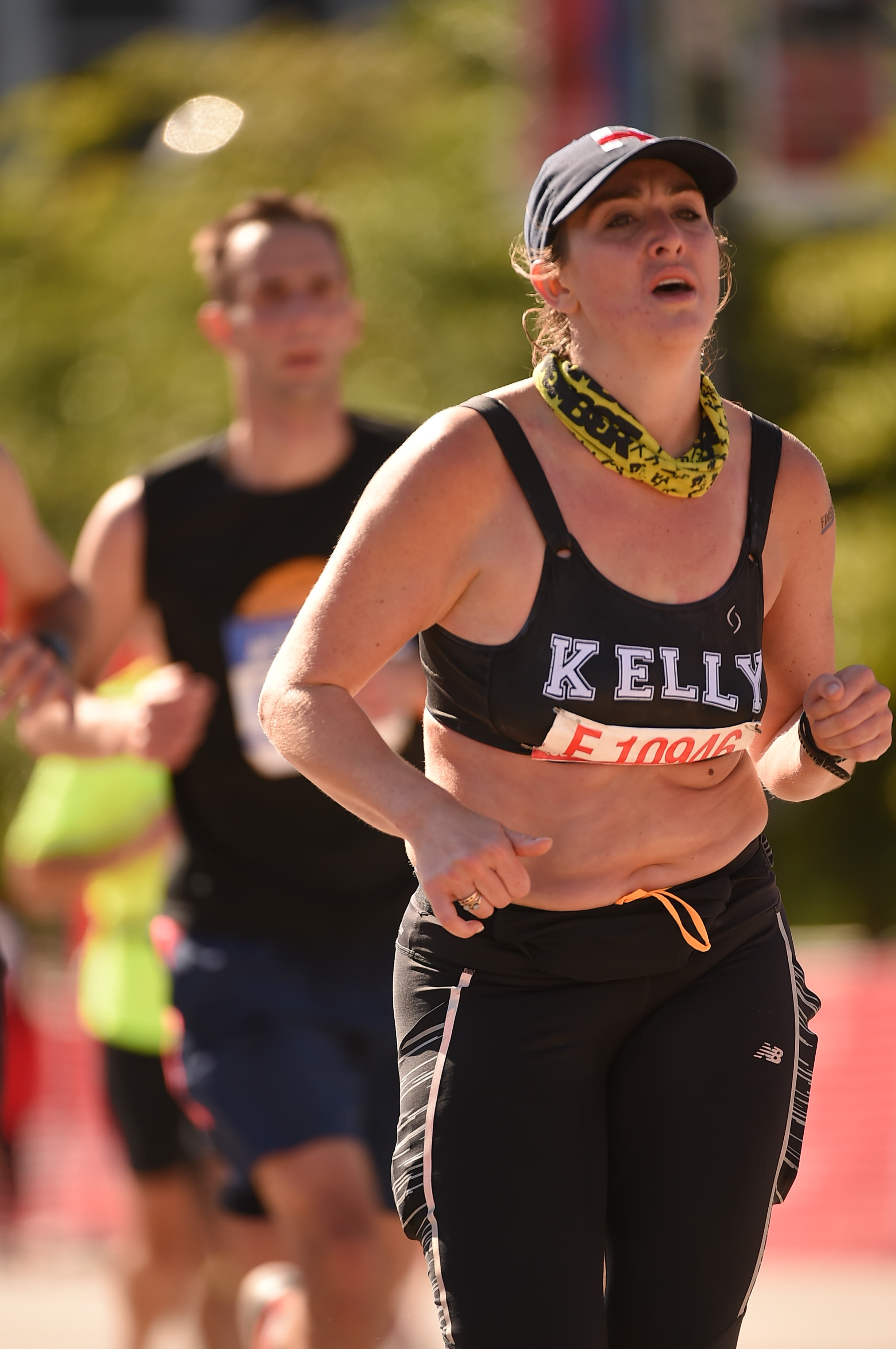 This is me, busting out a 7 minute 45 second mile for the final 1.2 miles of the Chicago Marathon where I finished in 3 hours and 42 minutes. I may not have a six pack, but I'm strong as f*ck. Stop cringing when you see your body. This picture makes me smile because it reminds me of how hard I worked. Proud is all I feel. And it took me years of hard work and positive self talk to get to this place.