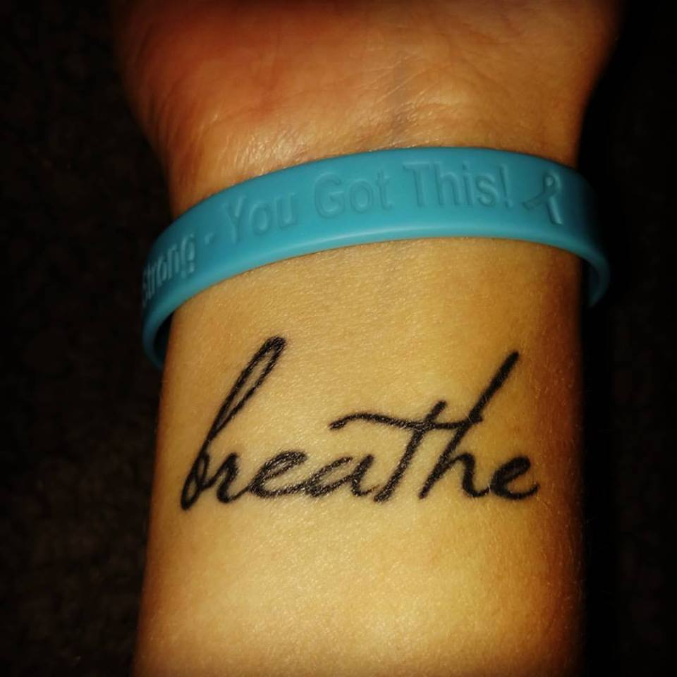 This is the tattoo I got after Ashley passed, along with my Breathe for Bea Foundation bracelet. My daily reminders to breathe - literally and figuratively.
