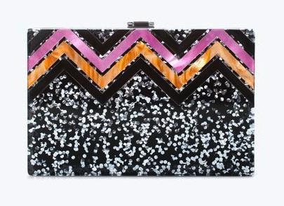 zara glitter box clutch, $79.90