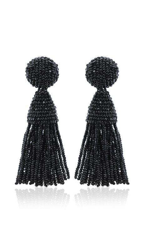 oscar de la renta short tassel earring, $345
