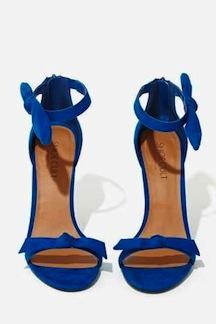 shoe cult, bow thyself cobalt heel, $68