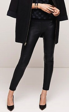 ann taylor faux leather leggings, $98