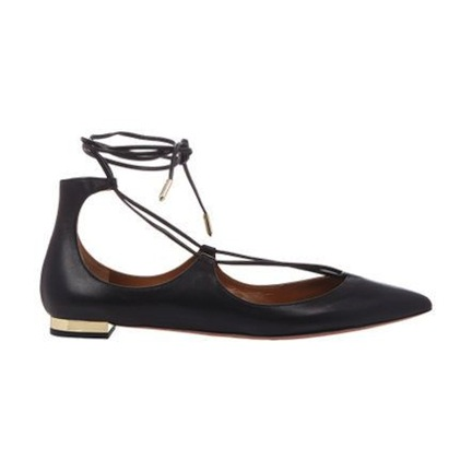 aquazzura christy lace-up flats, $675