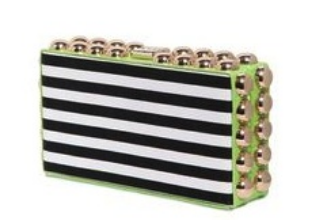 dsquared2, striped cotton canvas and ayers box clutch, $440