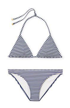 tory burch clemente striped bikini top and bottom, $95/each
