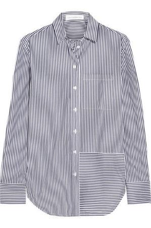 victoria beckham denim, oversized striped cotton shirt, $395