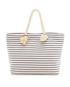 bop basics, canvas beach tote with rope handles, $100