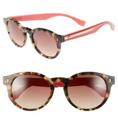 fendi, 50mm round sunglasses, $340