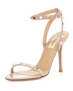 valentino rockstud patent leather sandal, $945