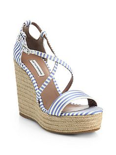 tabitha simmons jenny striped espadrille wedges, $495