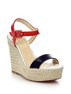 christian louboutin spachica patent leather espadrille wedge sandals, $675