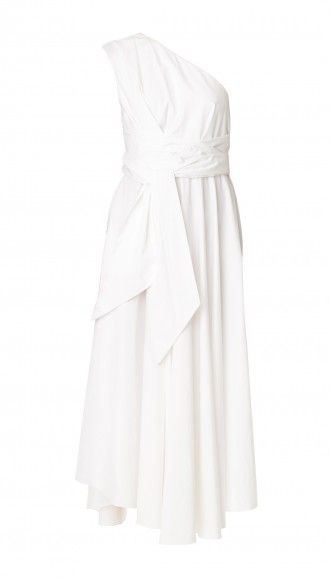 tibi satin popin one-shoulder dress, $625