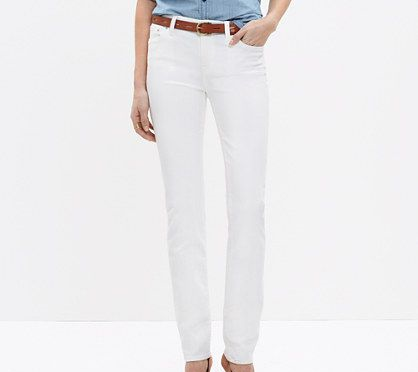 madewell alley straight jean in pure white, $115
