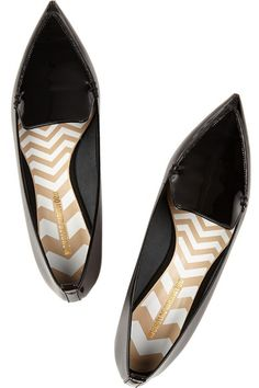 nicholas kirkwood black patent pointed toe flat, $450-- compared to valentino cage noir flat, $995