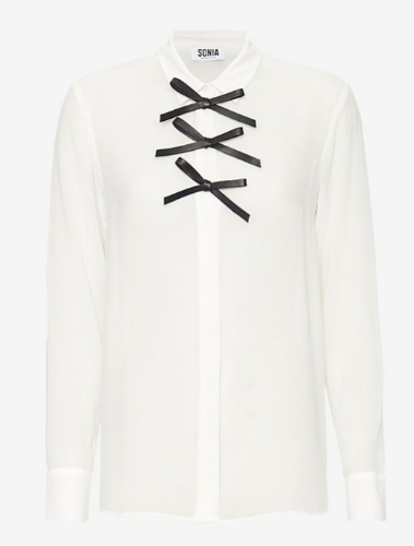 sonia by sonia rykiel leather bow blouse, $298 (similar here)