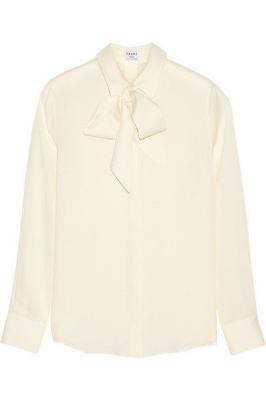 frame denim le bow silk-georgette blouse, $270