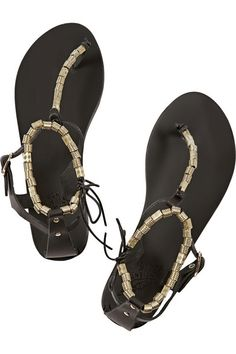 ancient greek sandals chrysso beaded leather sandals, $270
